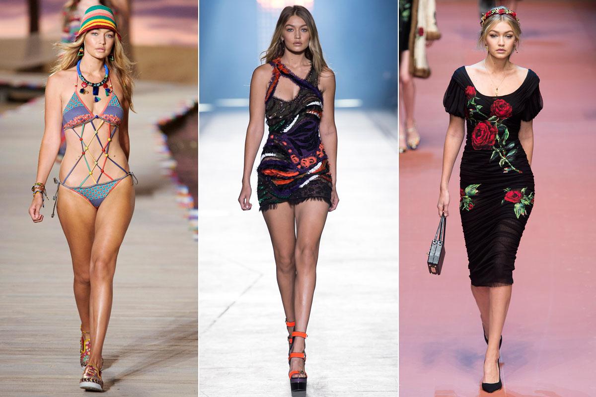 Las mejores firmas quieren contar con ella en sus desfiles. En la imagen desfilando para Tommy Hilfiger, Versace y Dolce & Gabbana.