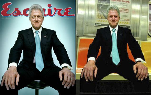 Aquí Bill Clinton, practicando (sin saberlo y como bien han parodiado en Internet) el 'manspreading' en su mítica portada de 'Esquire'. Foto: Esquire/ imgur