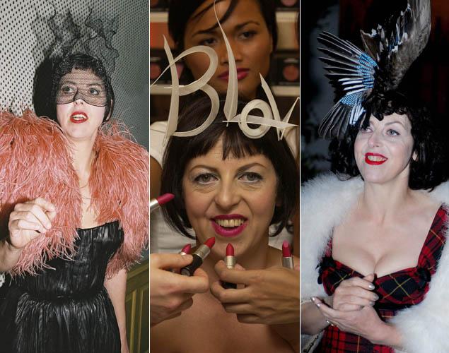 Isabella Blow, con sus míticos tocados y sus dientes manchados de pintalabios. La editora de moda, musa de Philip Treacy y madrina de Alexander McQueen, se suicidó en mayo de 2007. Foto: Cordon Press