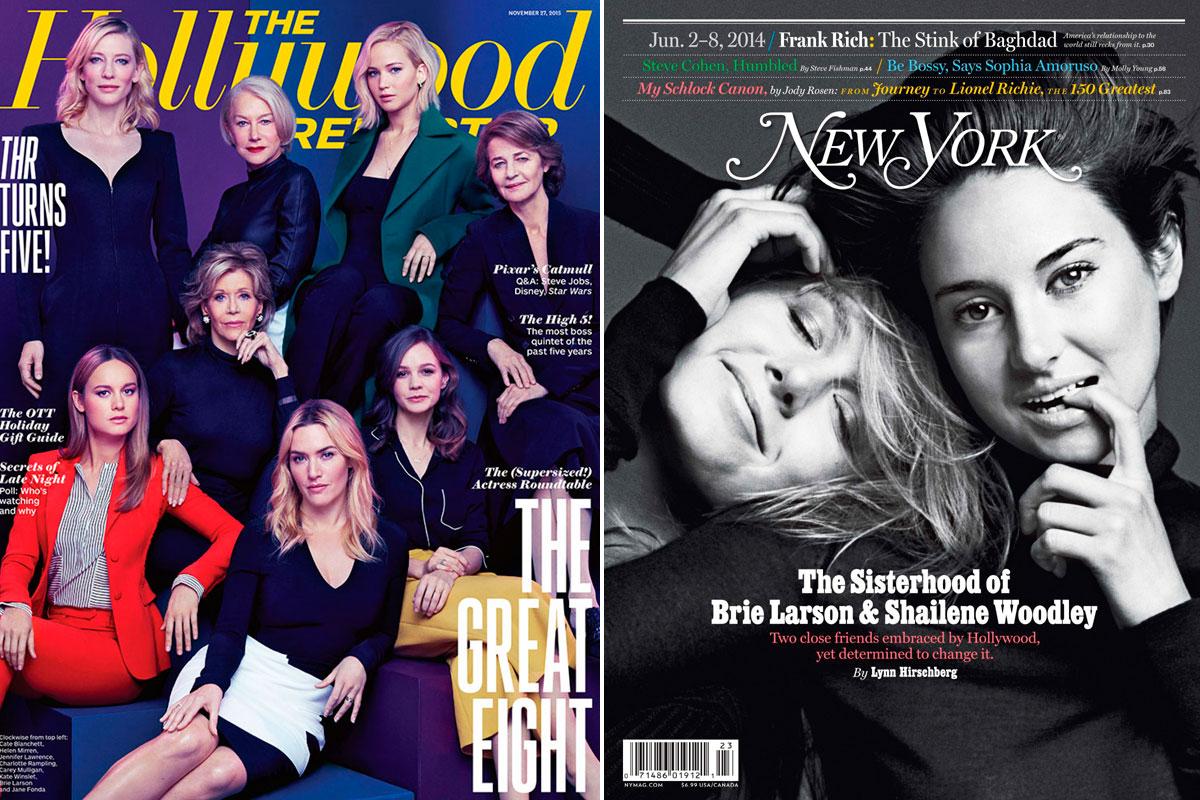A la izquierda, Brie Larson junto a las actrices del momento en 'The Hollywood Reporter'. A la derecha, compartiendo portada con su amiga Shailene Woodley.