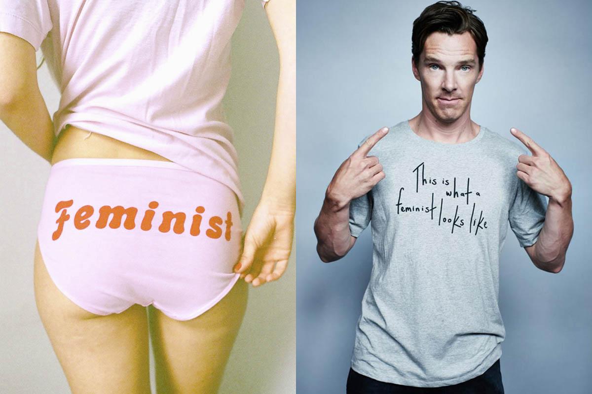 A la izquierda, braguita de Me and you. A la derecha, Benedict Cumberbatch con la polémica camiseta 'This is what a feminist look like'.