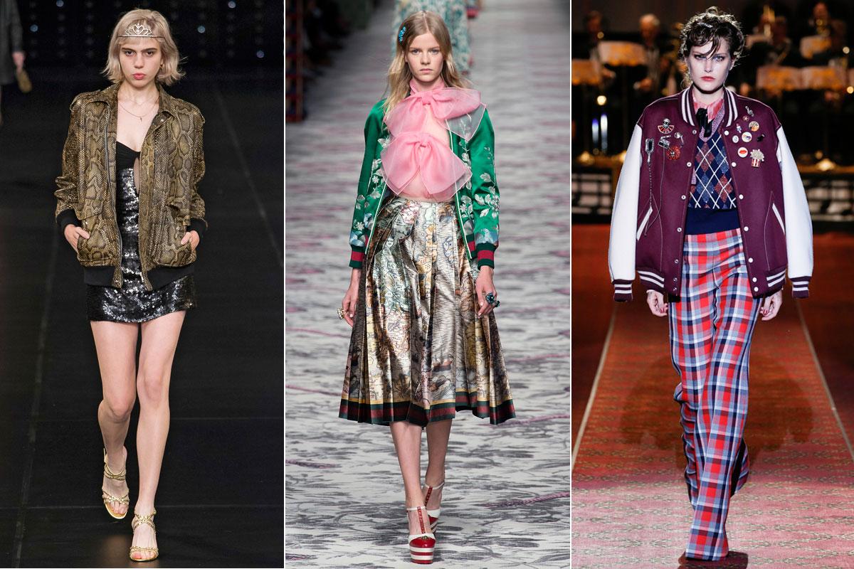 Estampadas, la opción con más personalidad pero más difícil de llevar. En la imagen, Saint Laurent, Gucci y Marc Jacobs.