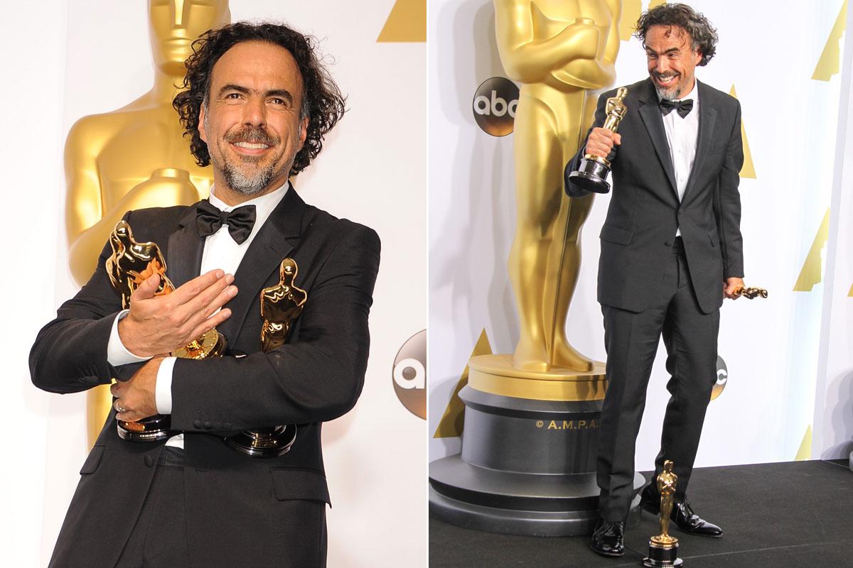 Aunque diga lo contrario, en la pasada edición de los Oscar posó encantado con sus 3 estatuillas.