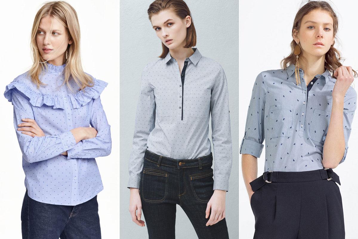 La camisa azul de rayas H&M, Mango y Zara.