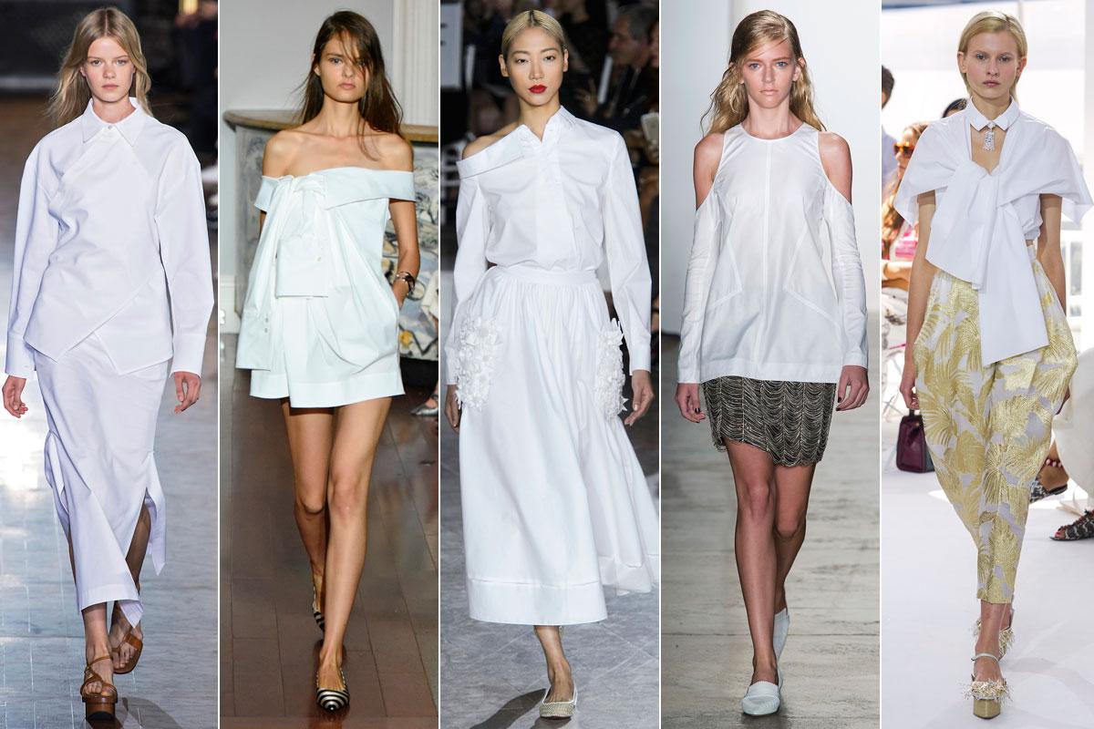 Las camisas blancas de Stella McCartent, Monse, Zac Posen, Wes Gordon y Delpozo.
