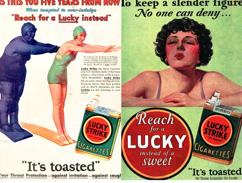 Anuncios de Lucky Strike que defendían fumar para estar más delgada.