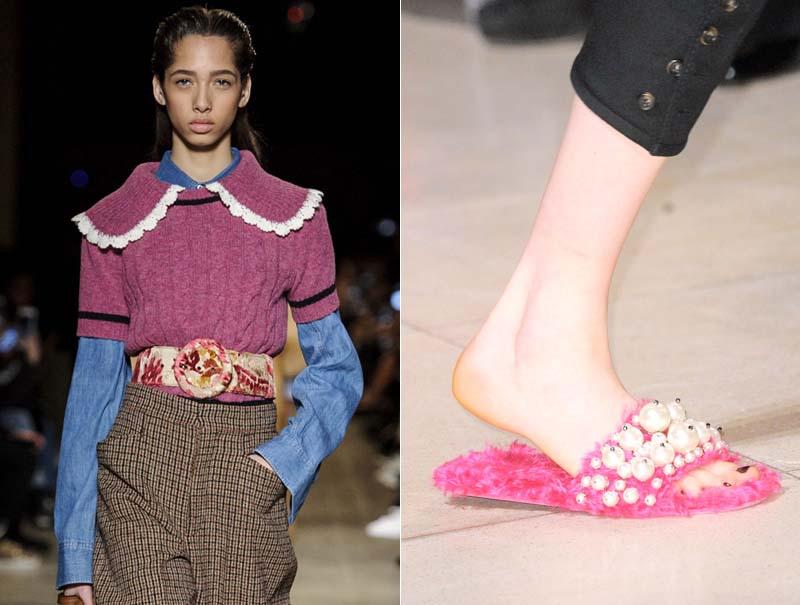 Zapatillas peludas en invierno para las chicas Miu Miu