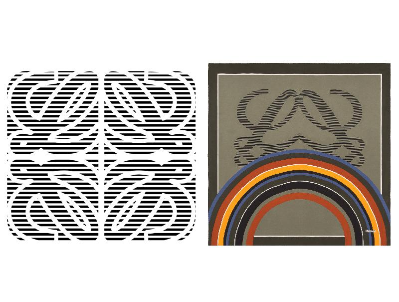El mítico logo y uno de los pañuelos de seda que diseñó.