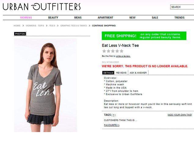 'Come menos', el criticado lema de Urban Outfitters.