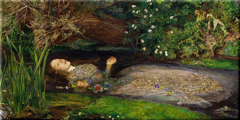 'Ophelia' de John Everett Millais, con Elizabeth Siddal como modelo.
