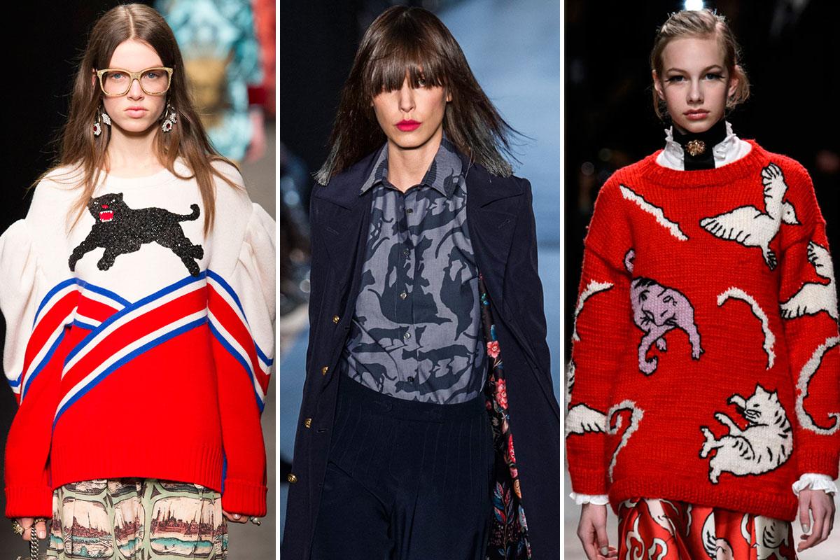 De jerséis como en Gucci a camisas como en Alexis Mabille, no hay prenda que se resista a los mininos.