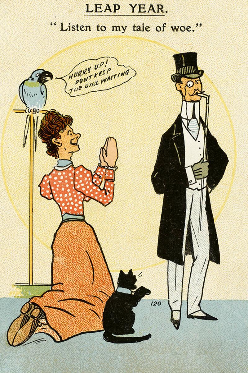 Una mujer pide matrimonio de rodillas en esta ilustración de 1912.