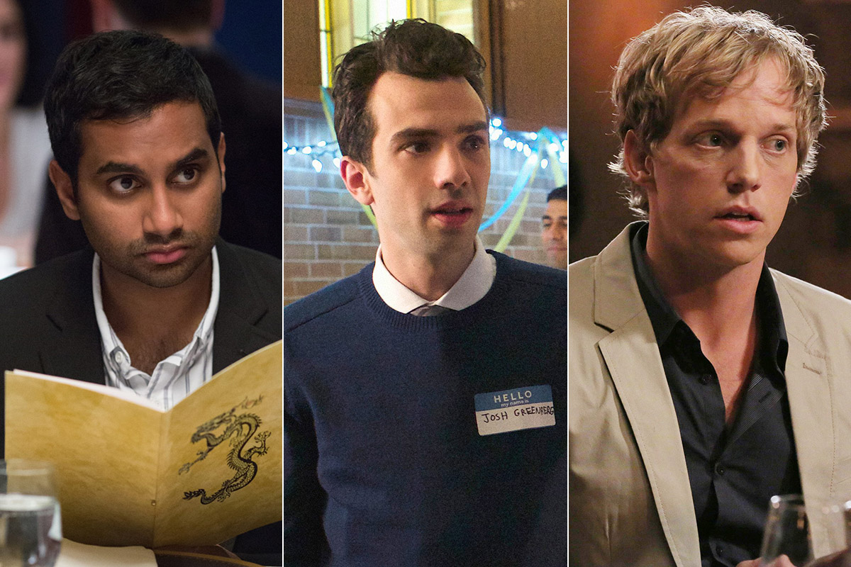 Aziz Ansari, Jay Baruchel y Chris Geere, modelos de la nueva sitcom romántica.