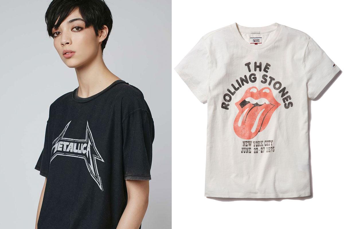 El diseño de Metallica (de Topshop) y una de las camisetas de la colección cápsula de Hilfiger Denim.