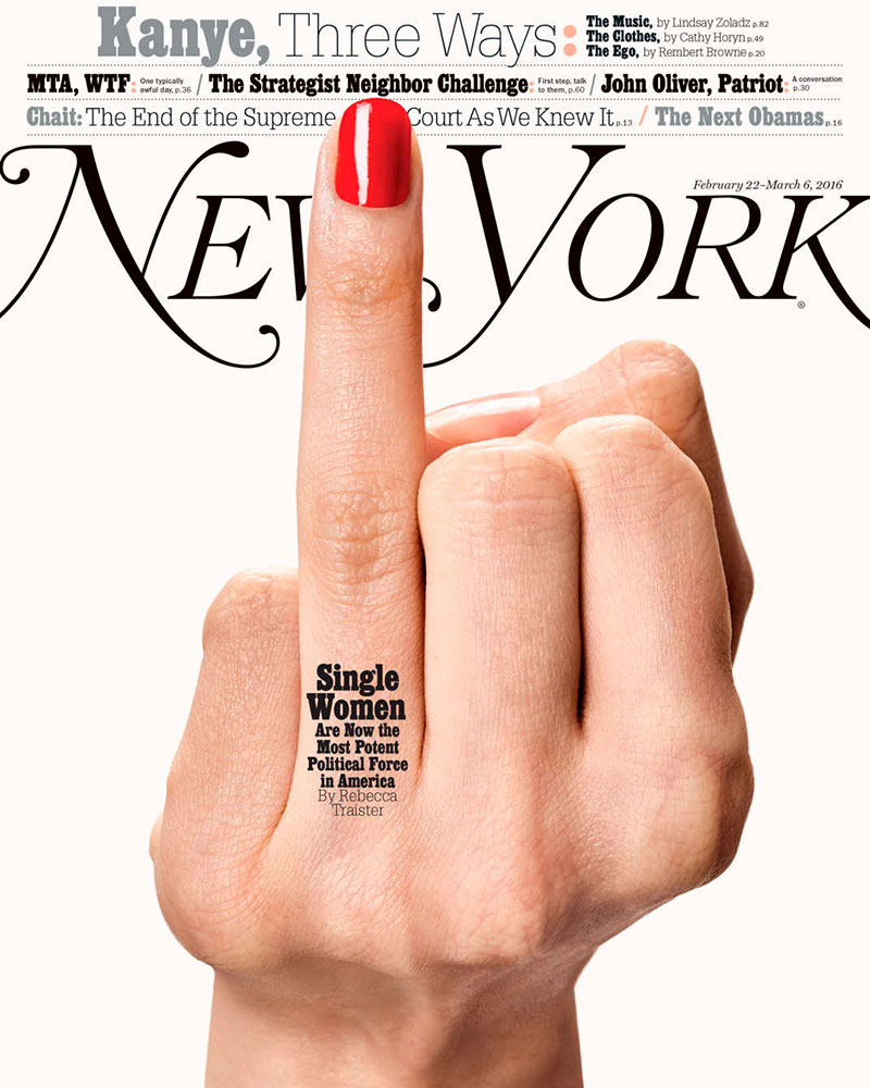 La portada de The New York Magazine dedicada a las solteras estadounidenses.