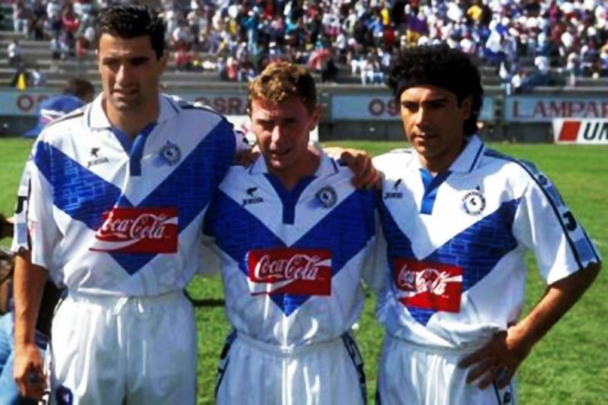 Míchel, Butragueño y Hugo Sánchez en 1997, uniformados de Joma en el Atlético Celaya.