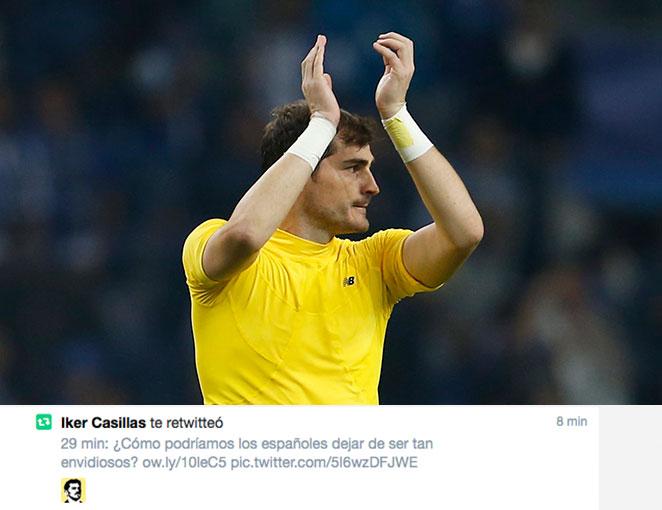 Iker Casillas se ha sentido identificado y ha retuiteado nuestra historia.