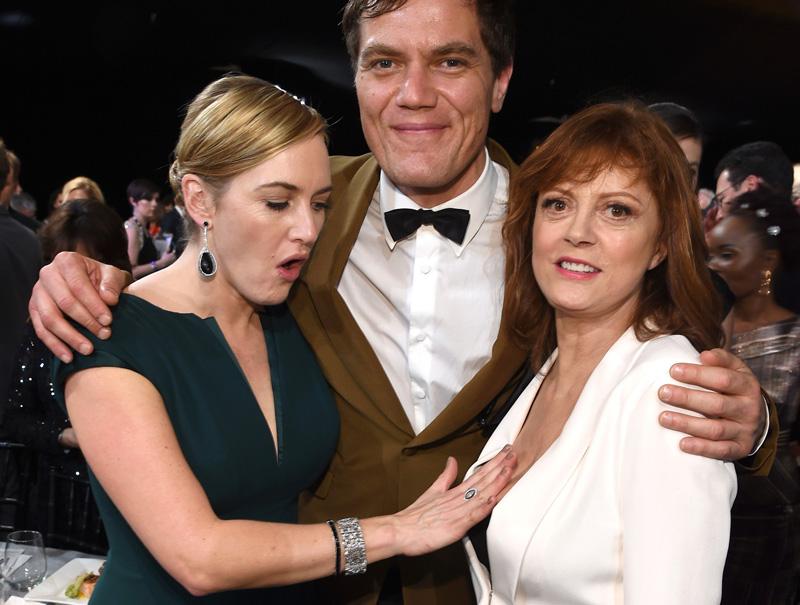 Kate Winslet, Michael Shannon y Susan Sarandon durante la gala de premios del Sindicato de Actores.