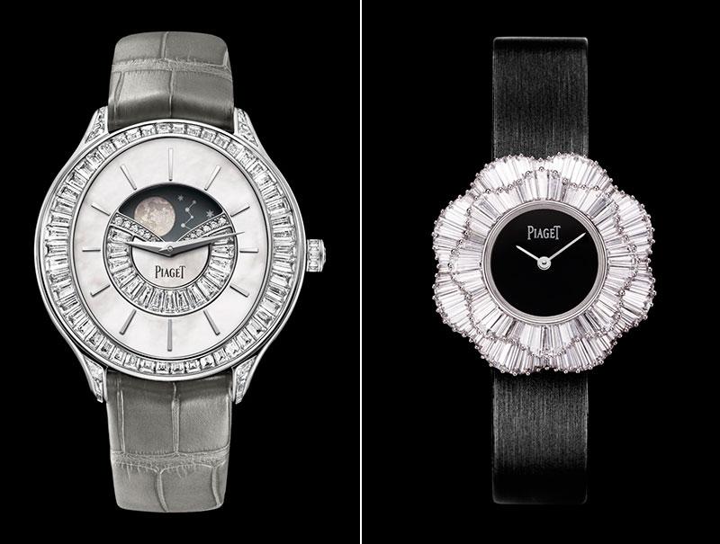 Reloj de alta gama con fase lunar automático de oro y diamantes y reloj de oro con diamantes de talla baguette, ambos de Piaget.