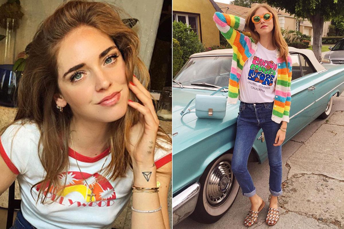 Souvenirs, Camisetas de Hollywood y California, básicos de armario para la bloguera Chiara Ferragni.