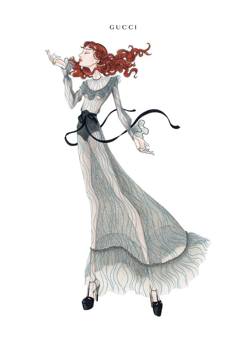 El boceto de uno de los diseño de Michele para la gira de la cantante. Foto: Laura Coulson