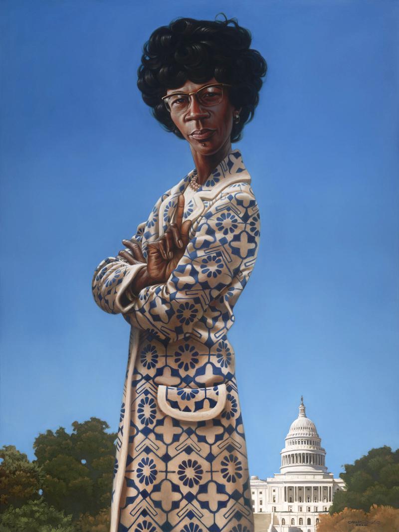 Retrato de Shirley Chisholm, por Kadir Nelson.
