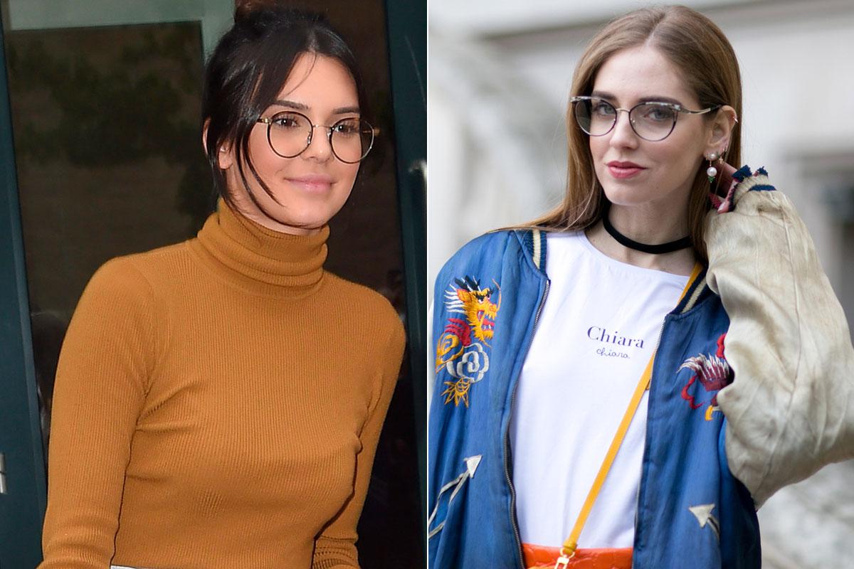 Kendall Jenner y Chiara Ferragni gafas de moda nerd