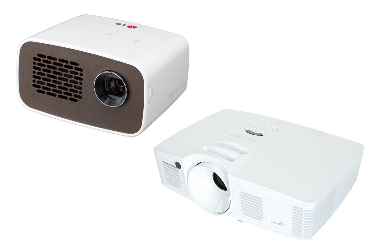 A la izquierda, proyector de LG. A la derecha, uno de los modelos de Optoma.