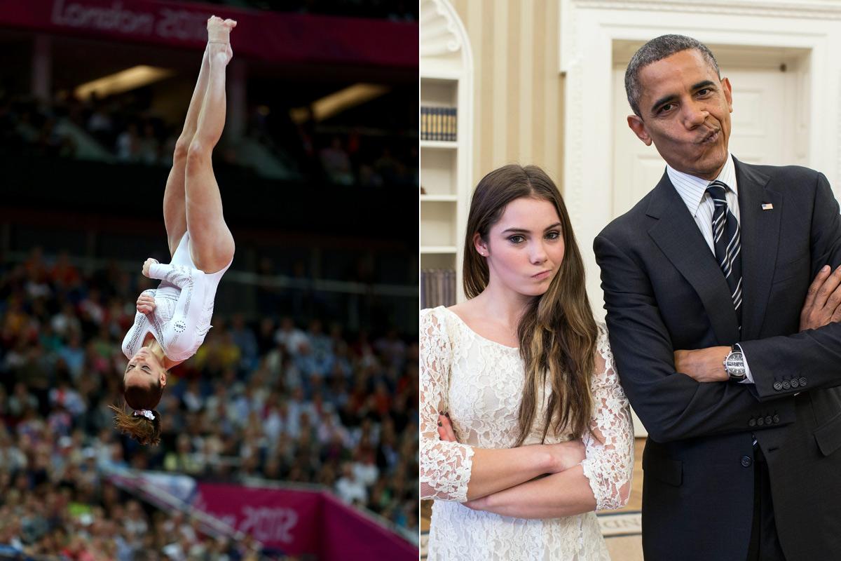 A la izquierda, McKayla Maroney durante su ejercicio en Río 2012. A la derecha, junto a Obama replicando su famosa mueca.