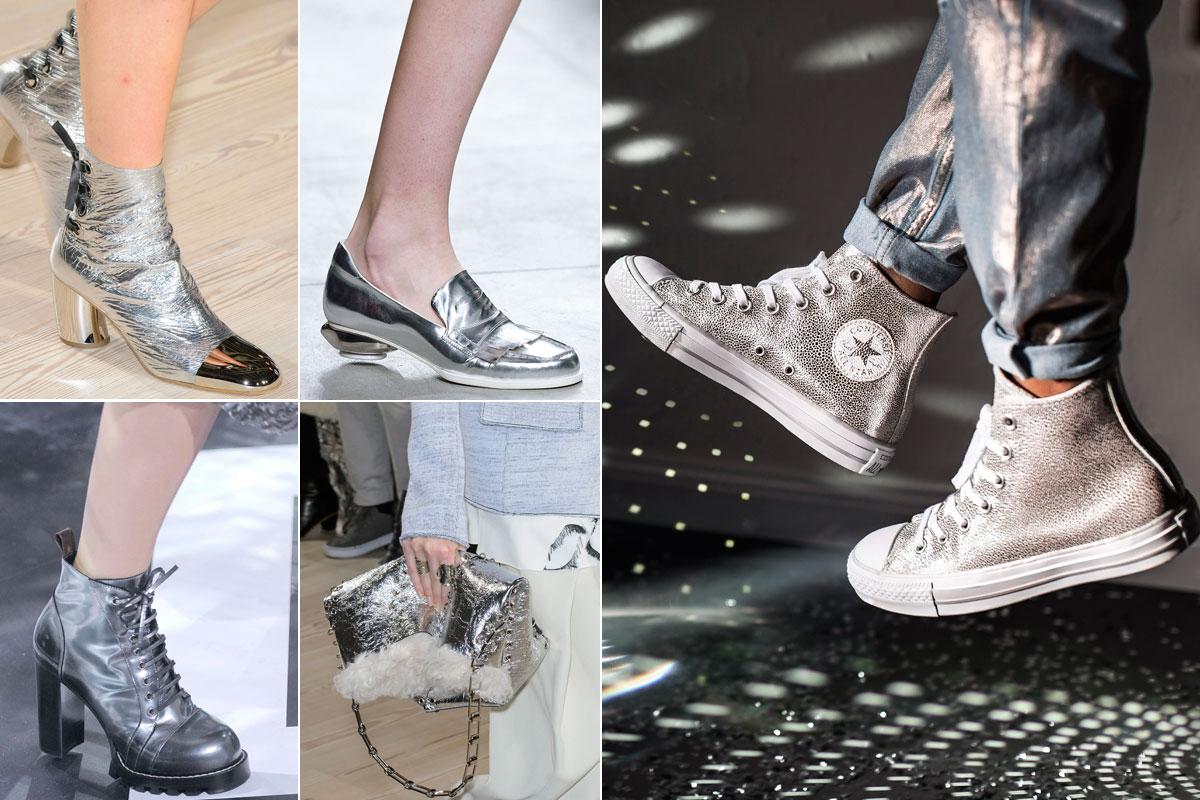 El acabado metalizado (también) es protagonista absoluto de zapatos, bolso y accesorios.