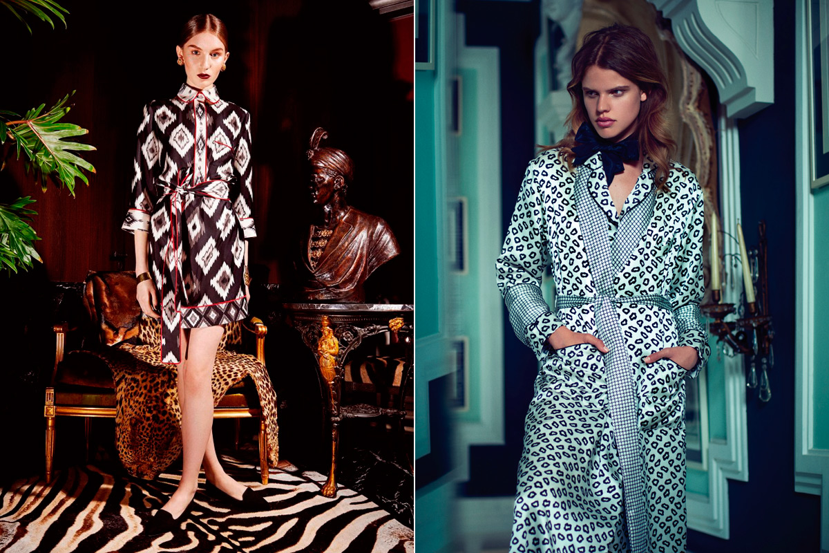 A la derecha, uno de los diseños de F.R.S. A la izquierda, batín de Olivia von Halle.