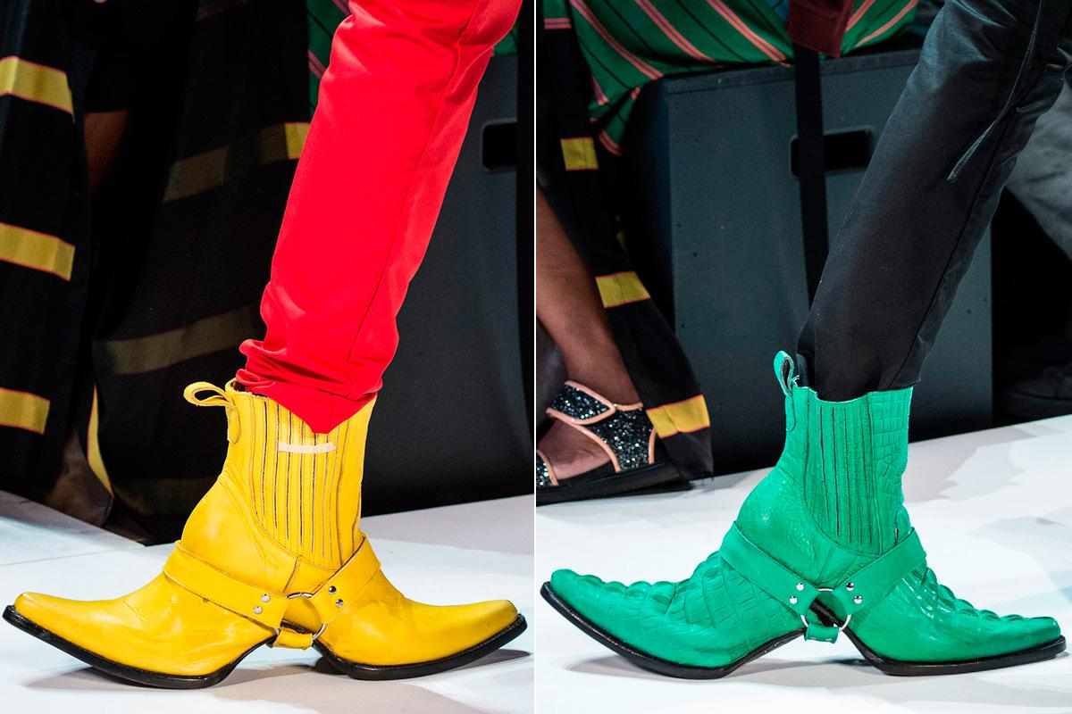 Las botas de doble punta, lo más reseñado de su propuesta.