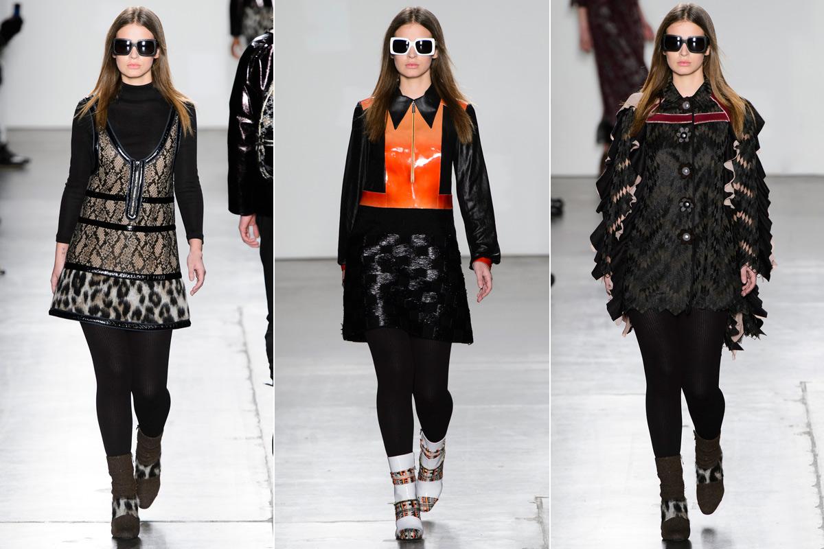 Las tres salidas de la modelo en el show otoño-invierno 2016/2017 de Custo en la New York Fashion Week.