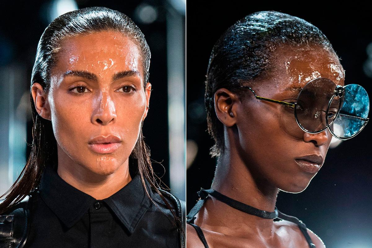 Así fue el maquillaje 'grasiento' que lucieron los modelos.