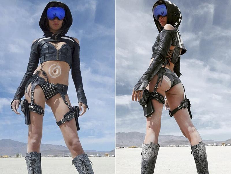La modelo de Victoria's Secret, Sara Sampaio, muy metida en el rollo 'Mad Max' del evento.
