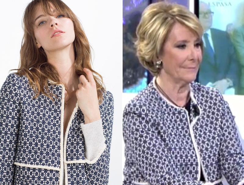 Esperanza Aguirre ya lleva el nuevo abrigo viral de Zara
