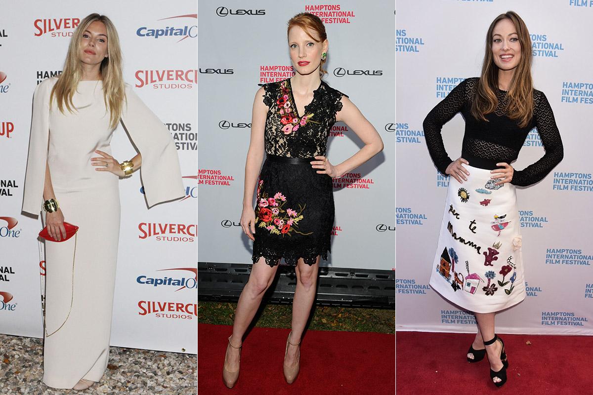 Sienna Miller, Jessica Chastain y Olivia Wilde posando en la alfombra roja del festival.