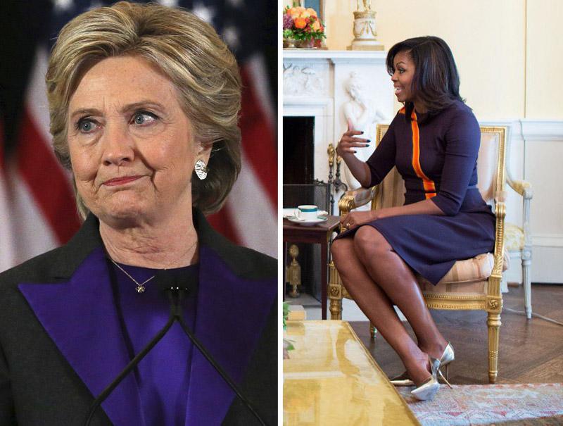 ¿Por qué visten de violeta Hillary y Michelle Obama tras la victoria de Trump?