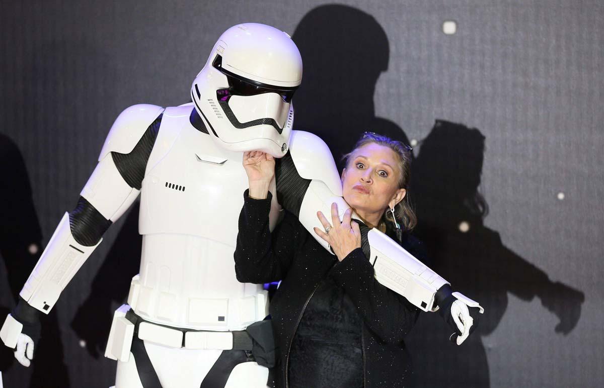 Carrie Fisher en la premiere de 'El despertar de la fuerza' el año pasado.