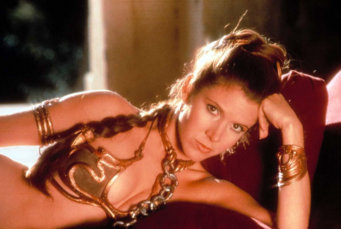 Fisher con el popular bikini metalizado de 'El retorno del Jedi'.