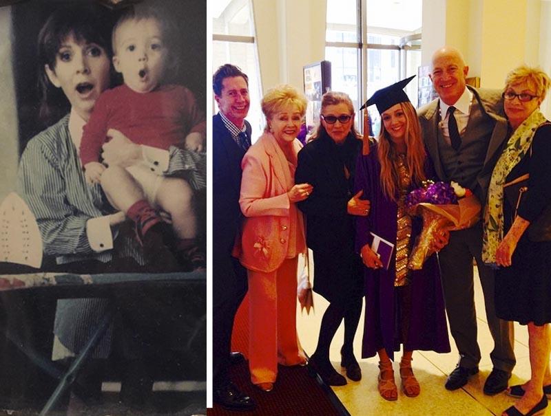 El instagram de Lourd está repleto de imágenes familiares con su madre, abuela y padre. Como esta imagen, en su graduación en la NYU.