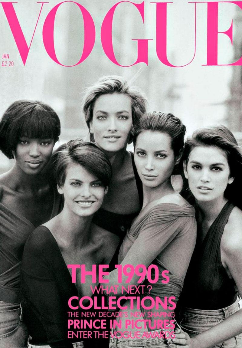 La portada de Vogue con las supermodelos de los 90 fotografiadas por Peter Lindbergh.