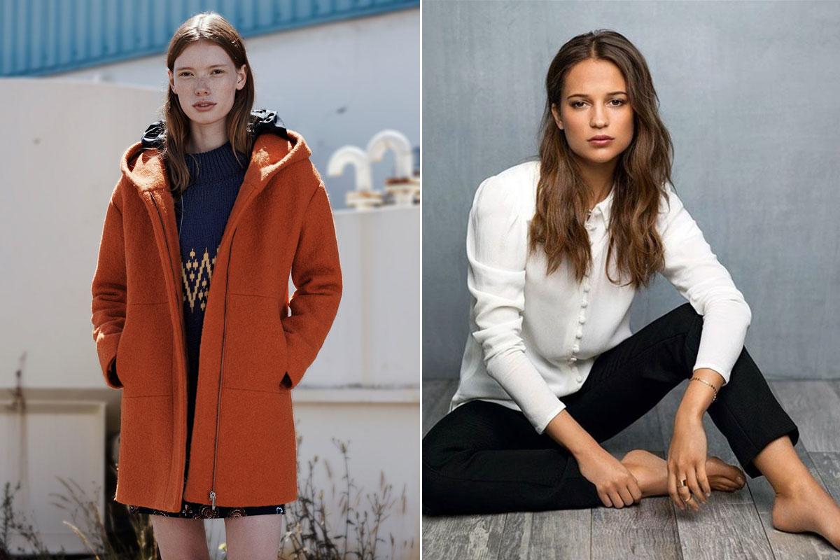 La modelo Julia Hafstrom posando para Zara y la actriz Alicia Vikander.