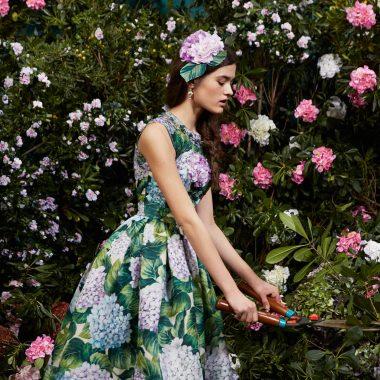 vestido estampado de Hortensias