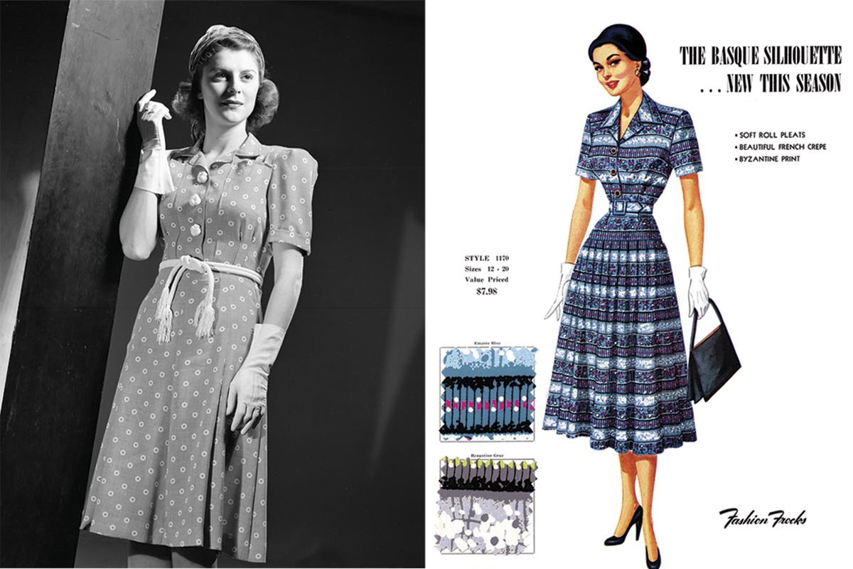 ea1aea9307 Vestido y figurín de la década de los 40. Foto  Getty