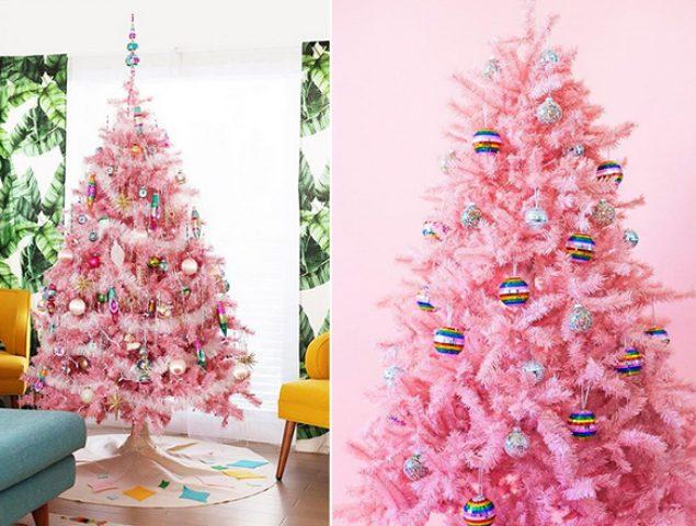 Tendencia inesperada: el triunfo de los árboles de Navidad rosas