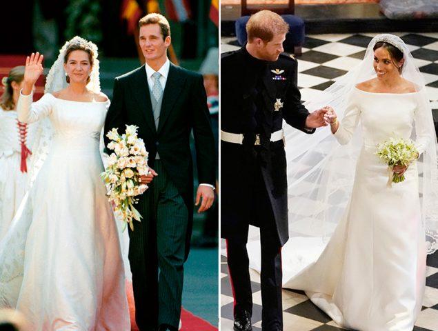 el vestido de meghan markle y el de la infanta cristina, como dos