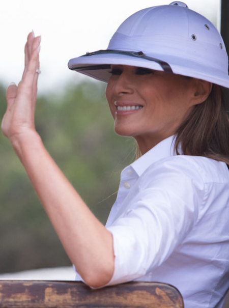El sombrero racista que Melania Trump ha llevado en su visita a África