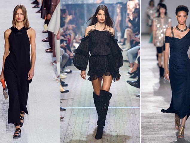 Con botas o sandalias, el vestido negro es la pieza sin esfuerzo para estrenar el calor