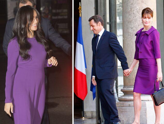 El regreso de Meghan Markle vs. la llegada de Carla Bruni: el color púrpura otorga «superpoderes»